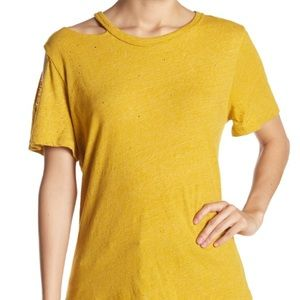 B.P mustard yellow cold shoulder destroyed tee